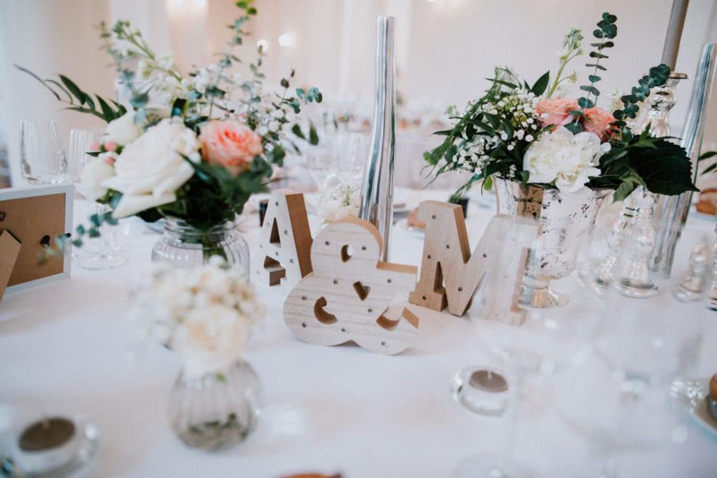 décoration de table de mariage au château de Vandeléville