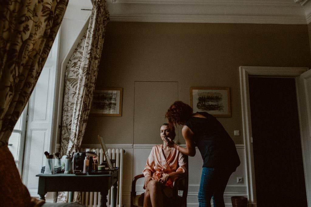 maquillage de mariage château des Grotteaux